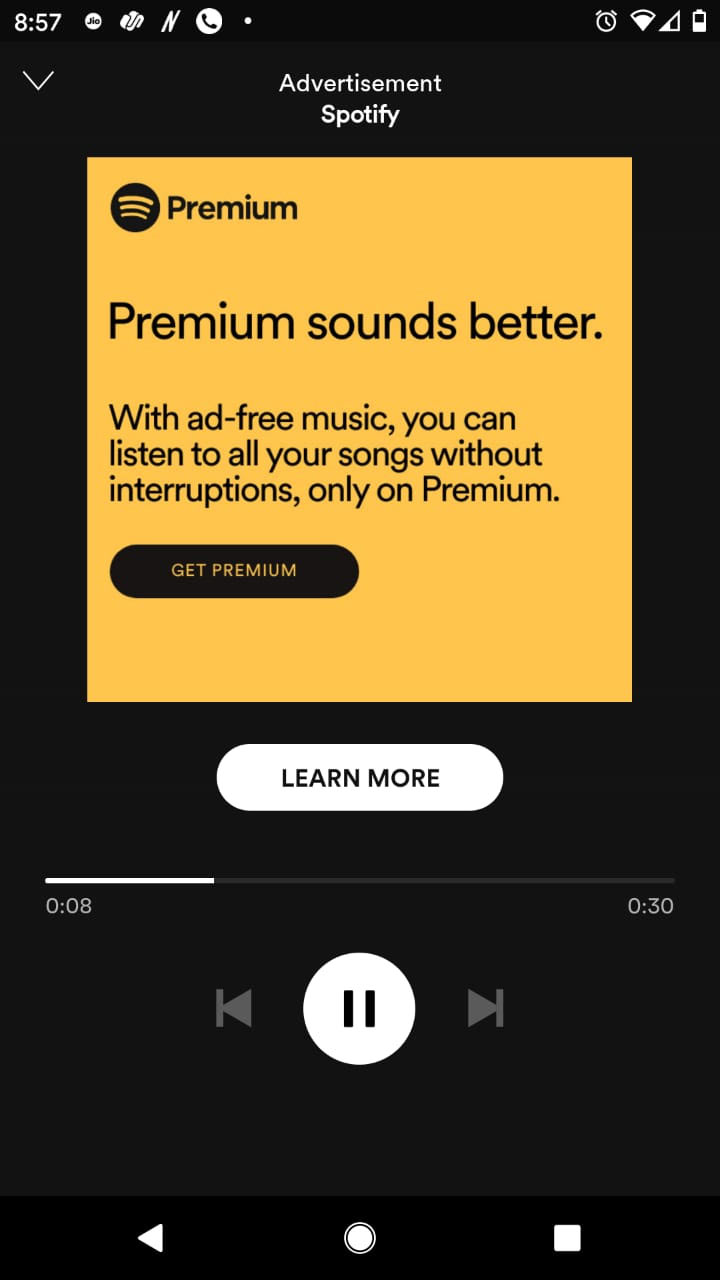 Sample of Spotify Display Ads